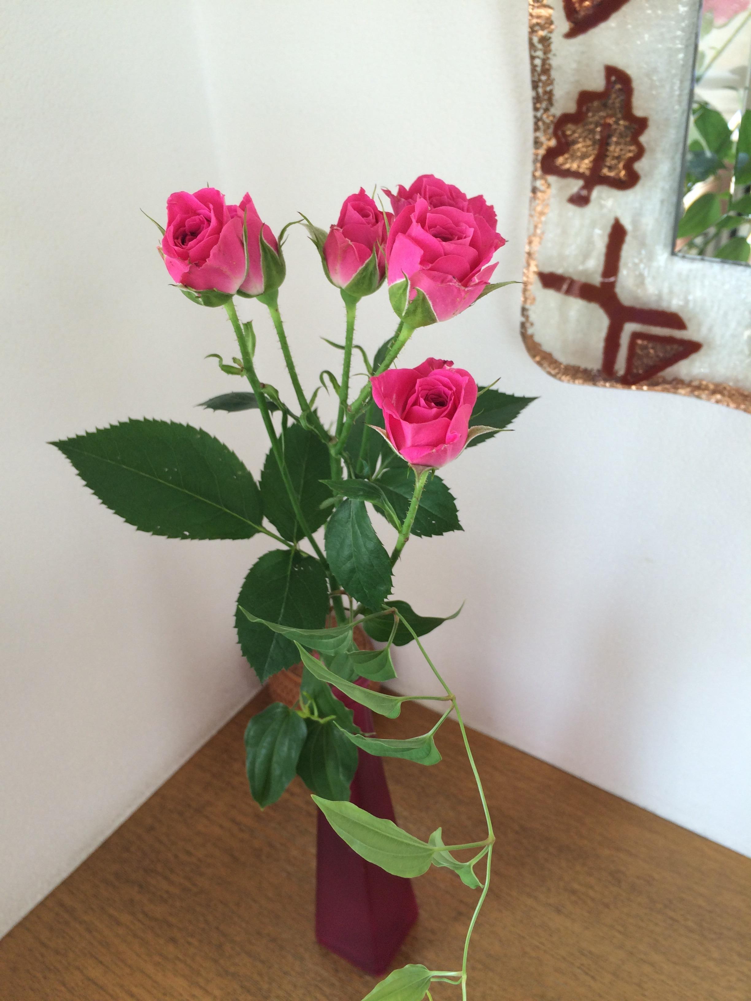 入り口のお花